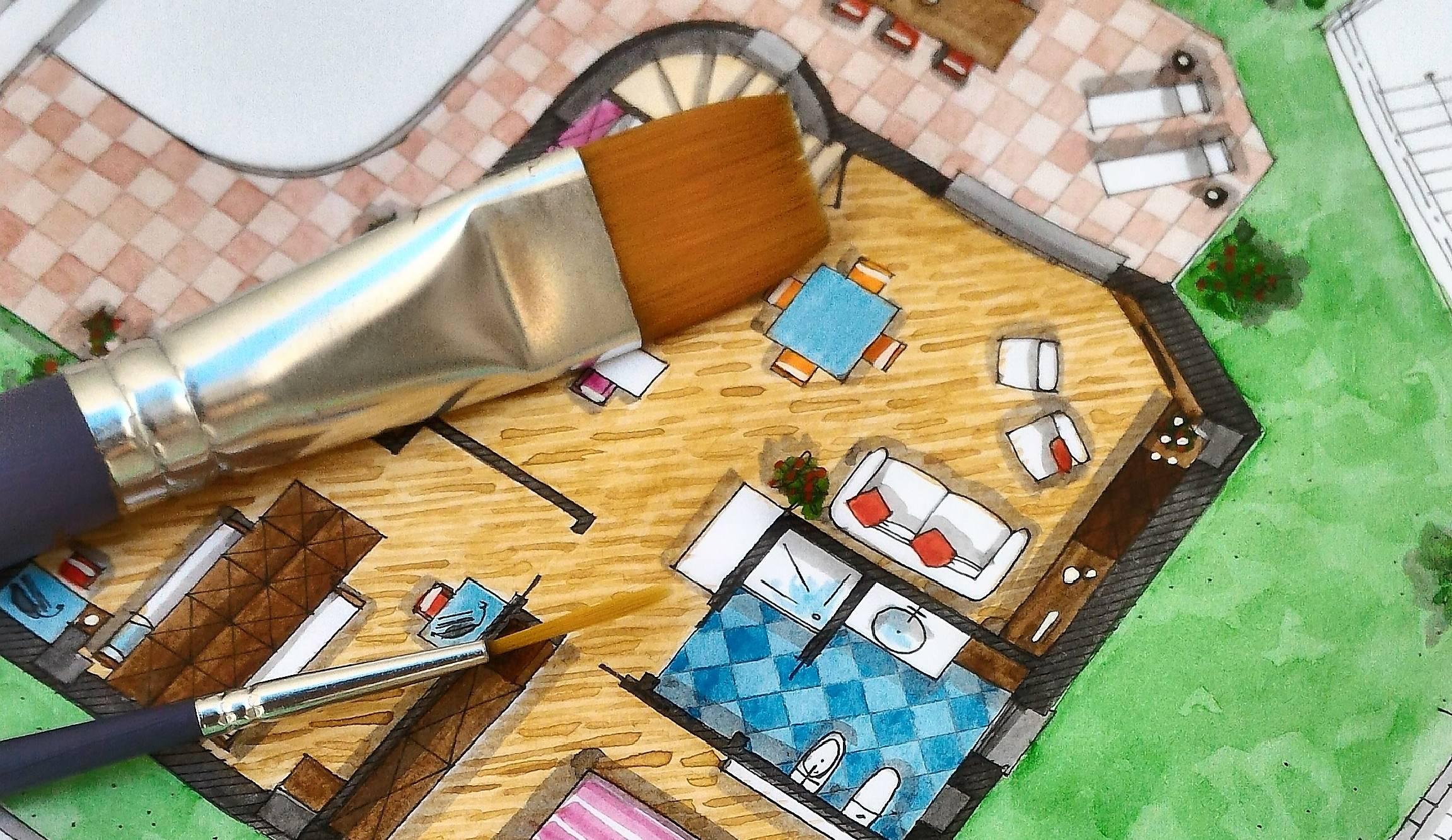 Planos de piso pintados
